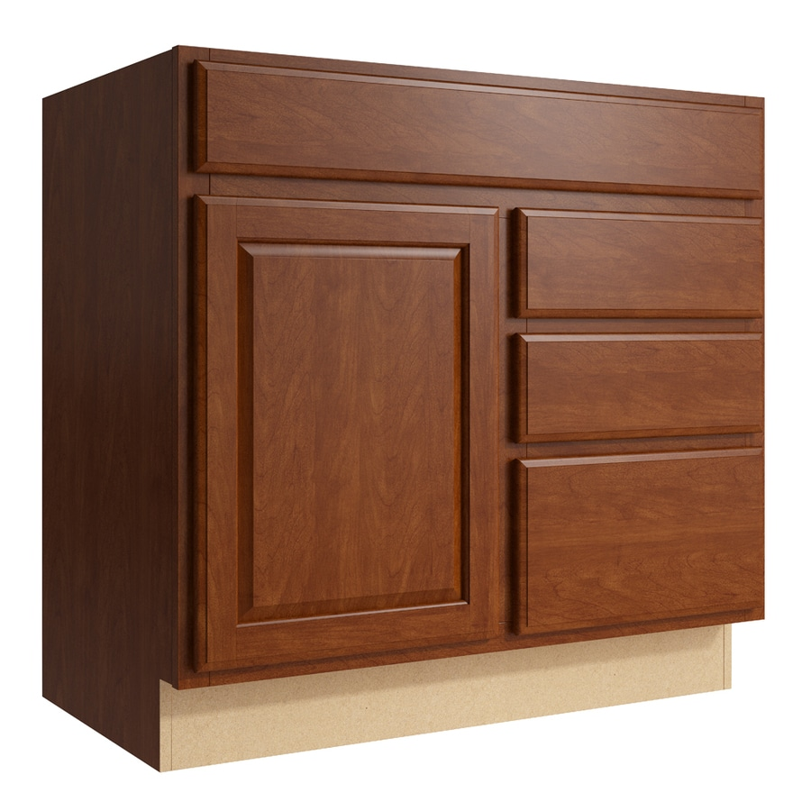 KraftMaid Momentum Sable Settler 1-Door 3-Drawer Right Base Cabinet (Common: 36-in x 21-in x 34.5-in; Actual: 36-in x 21-in x 34.5-in)