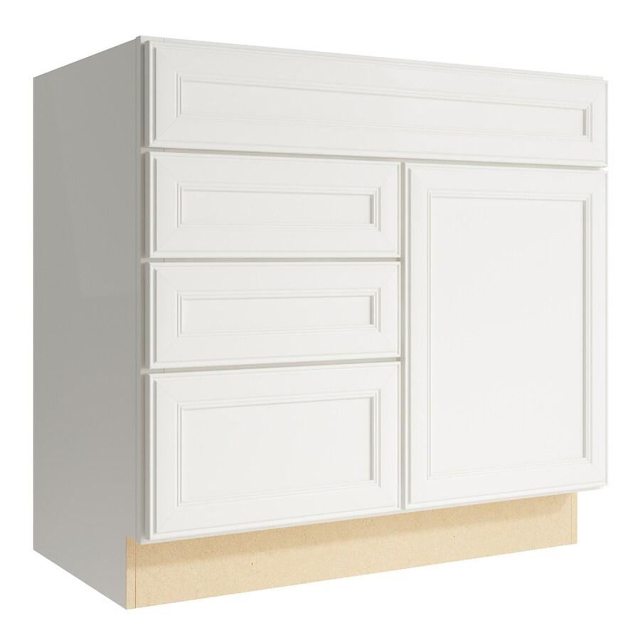 KraftMaid Momentum Cotton Bellamy 1-Door 3-Drawer Left Base Cabinet (Common: 36-in x 21-in x 34.5-in; Actual: 36-in x 21-in x 34.5-in)