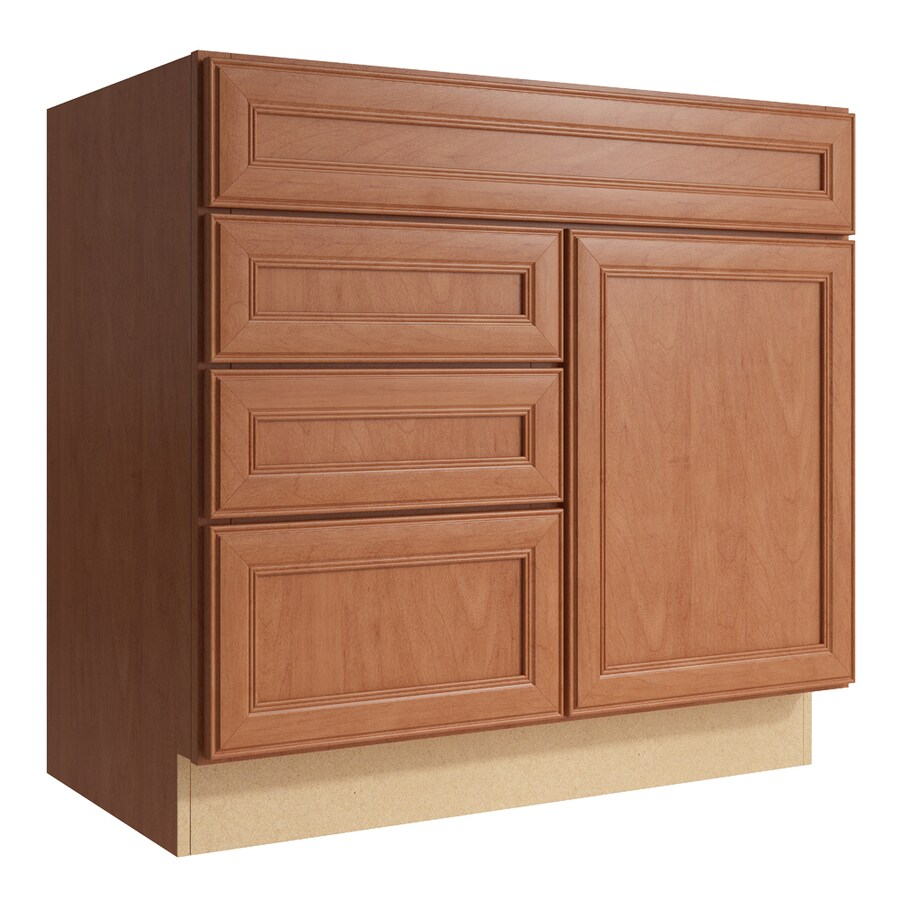 KraftMaid Momentum Hazelnut Bellamy 1-Door 3-Drawer Left Base Cabinet (Common: 36-in x 21-in x 34.5-in; Actual: 36-in x 21-in x 34.5-in)