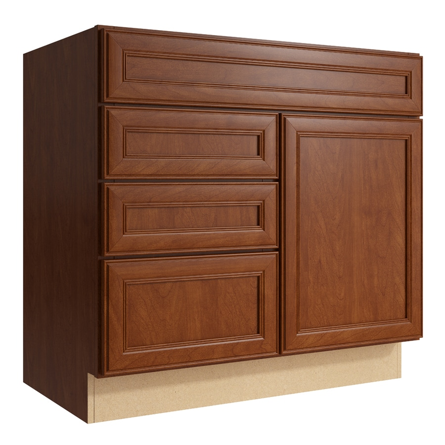 KraftMaid Momentum Sable Bellamy 1-Door 3-Drawer Left Base Cabinet (Common: 36-in x 21-in x 34.5-in; Actual: 36-in x 21-in x 34.5-in)