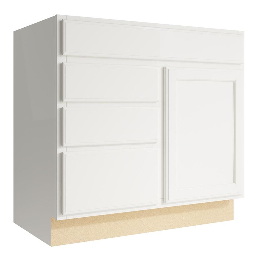 KraftMaid Momentum Cotton Kingston 1-Door 3-Drawer Left Base Cabinet (Common: 36-in x 21-in x 34.5-in; Actual: 36-in x 21-in x 34.5-in)