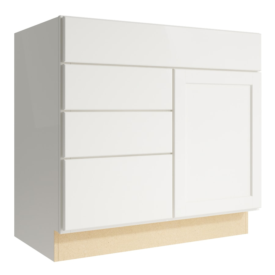 KraftMaid Momentum Cotton Paxton 1-Door 3-Drawer Left Base Cabinet (Common: 36-in x 21-in x 34.5-in; Actual: 36-in x 21-in x 34.5-in)
