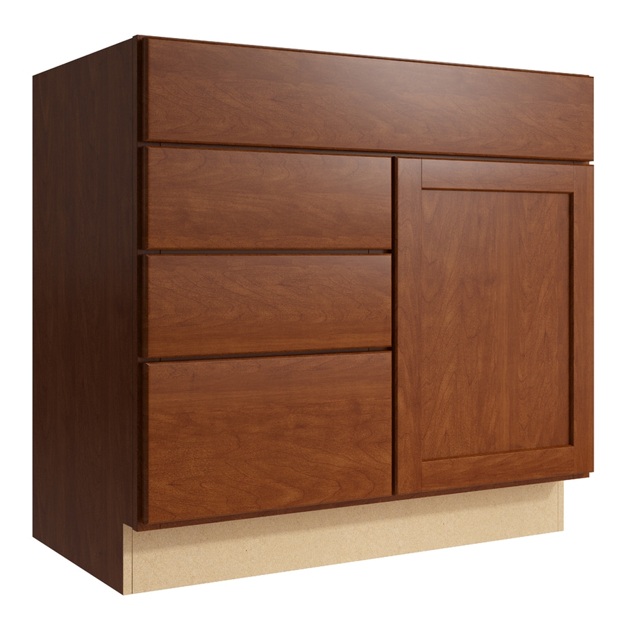 KraftMaid Momentum Sable Paxton 1-Door 3-Drawer Left Base Cabinet (Common: 36-in x 21-in x 34.5-in; Actual: 36-in x 21-in x 34.5-in)