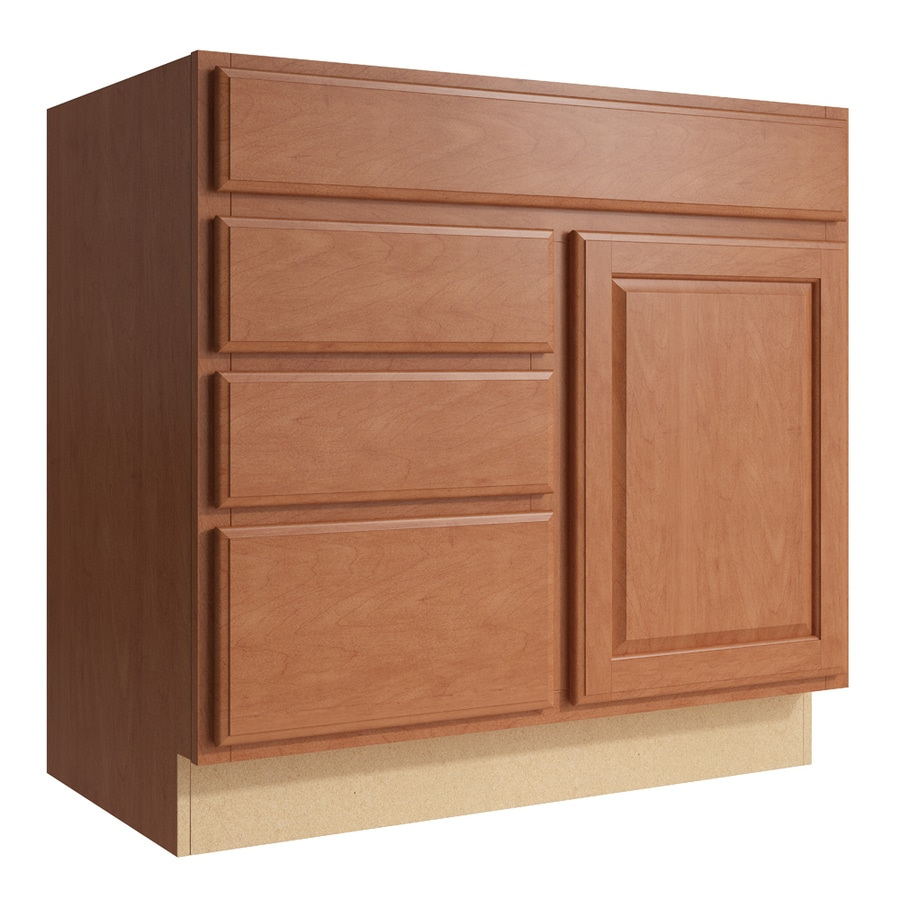 KraftMaid Momentum Hazelnut Settler 1-Door 3-Drawer Left Base Cabinet (Common: 36-in x 21-in x 34.5-in; Actual: 36-in x 21-in x 34.5-in)
