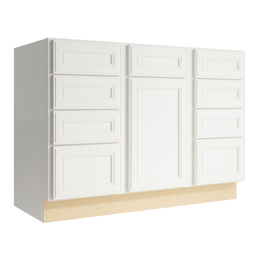 KraftMaid Momentum Cotton Bellamy 1-Door 8-Drawer Base Cabinet (Common: 48-in x 21-in x 34.5-in; Actual: 48-in x 21-in x 34.5-in)