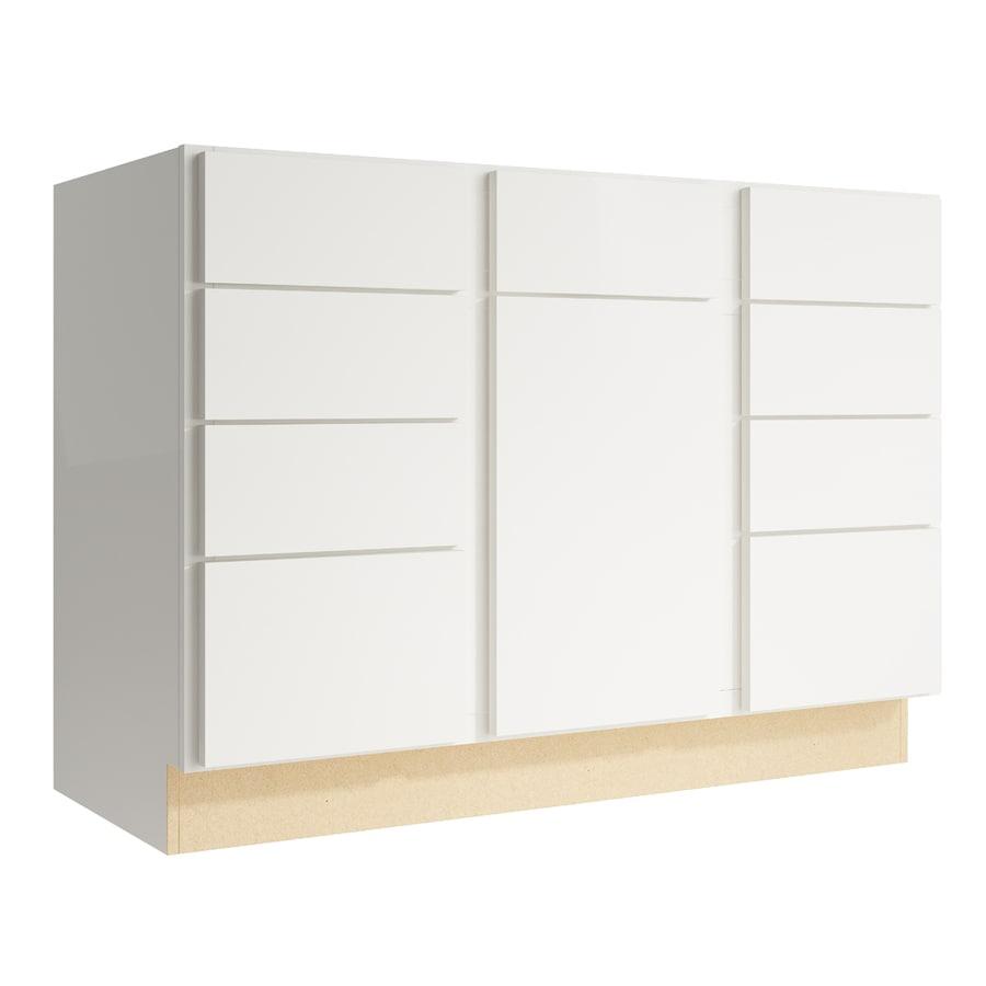 KraftMaid Momentum Cotton Frontier 1-Door 8-Drawer Base Cabinet (Common: 48-in x 21-in x 34.5-in; Actual: 48-in x 21-in x 34.5-in)