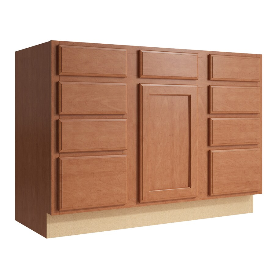 KraftMaid Momentum Hazelnut Kingston 1-Door 8-Drawer Base Cabinet (Common: 48-in x 21-in x 34.5-in; Actual: 48-in x 21-in x 34.5-in)