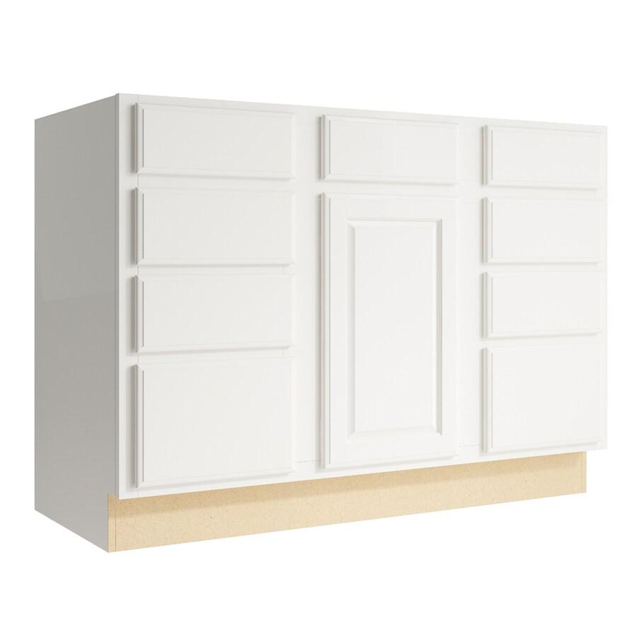 KraftMaid Momentum Cotton Settler 1-Door 8-Drawer Base Cabinet (Common: 48-in x 21-in x 34.5-in; Actual: 48-in x 21-in x 34.5-in)