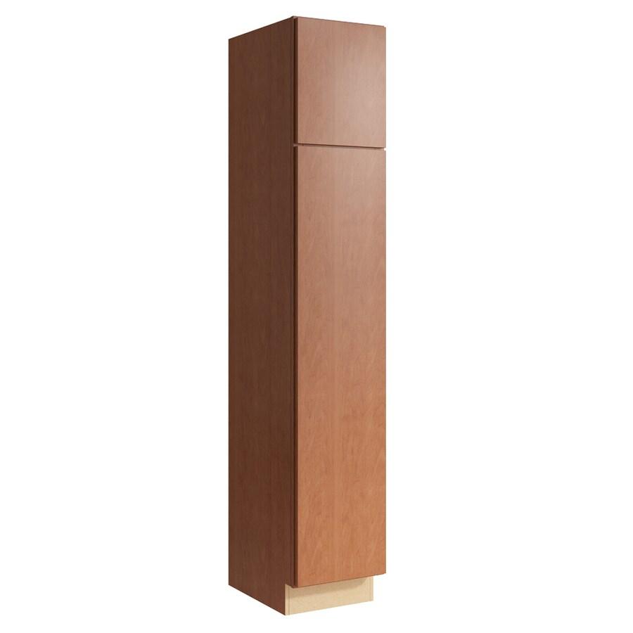 KraftMaid Momentum Hazelnut Frontier 2-Door Left-Hinged Linen Cabinet (Common 15-in x 21-in x 84-in; Actual 15-in x 21-in x 84-in)
