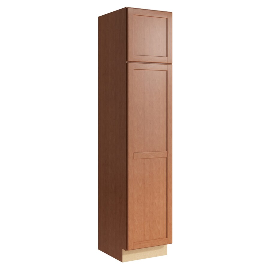 KraftMaid Momentum Hazelnut Paxton 2-Door Right-Hinged Linen Cabinet (Common 18-in x 21-in x 84-in; Actual 18-in x 21-in x 84-in)