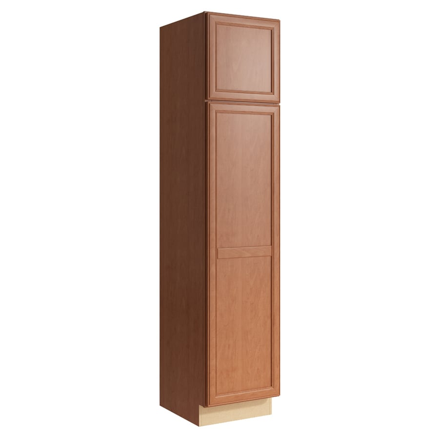 KraftMaid Momentum Hazelnut Bellamy 2-Door Left-Hinged Linen Cabinet (Common 18-in x 21-in x 84-in; Actual 18-in x 21-in x 84-in)