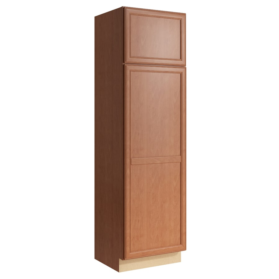 KraftMaid Momentum Hazelnut Bellamy 2-Door Right-Hinged Linen Cabinet (Common 24-in x 21-in x 84-in; Actual 24-in x 21-in x 84-in)