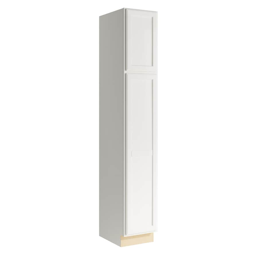 KraftMaid Momentum Cotton Kingston 2-Door Left-Hinged Linen Cabinet (Common 15-in x 21-in x 90-in; Actual 15-in x 21-in x 90-in)