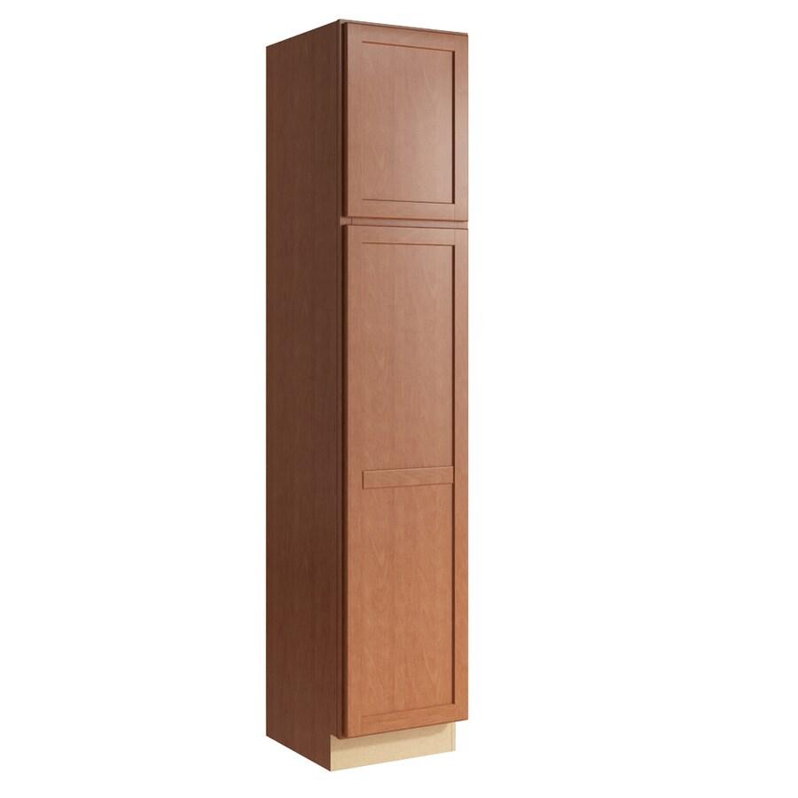 KraftMaid Momentum Hazelnut Paxton 2-Door Right-Hinged Linen Cabinet (Common 18-in x 21-in x 90-in; Actual 18-in x 21-in x 90-in)