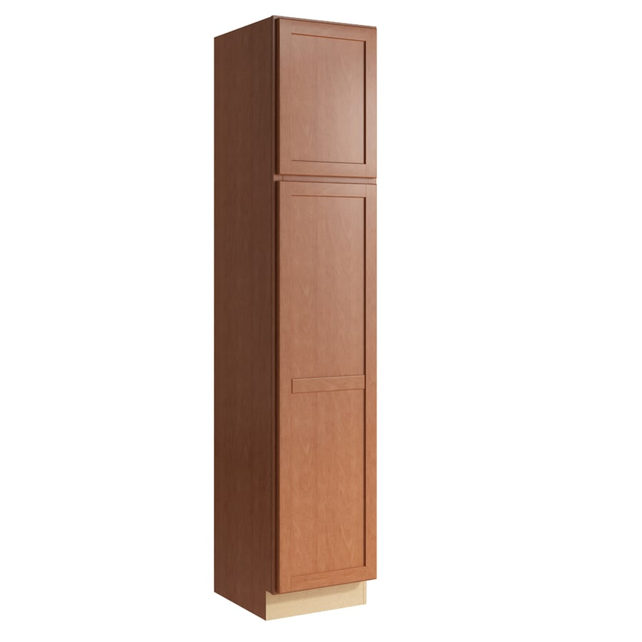 KraftMaid Momentum Hazelnut Paxton 2-Door Left-Hinged Linen Cabinet (Common 18-in x 21-in x 90-in; Actual 18-in x 21-in x 90-in)