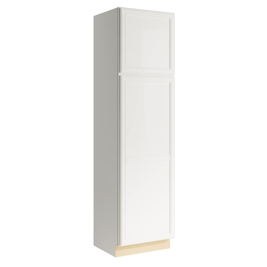 KraftMaid Momentum Cotton Bellamy 2-Door Left-Hinged Linen Cabinet (Common 24-in x 21-in x 90-in; Actual 24-in x 21-in x 90-in)