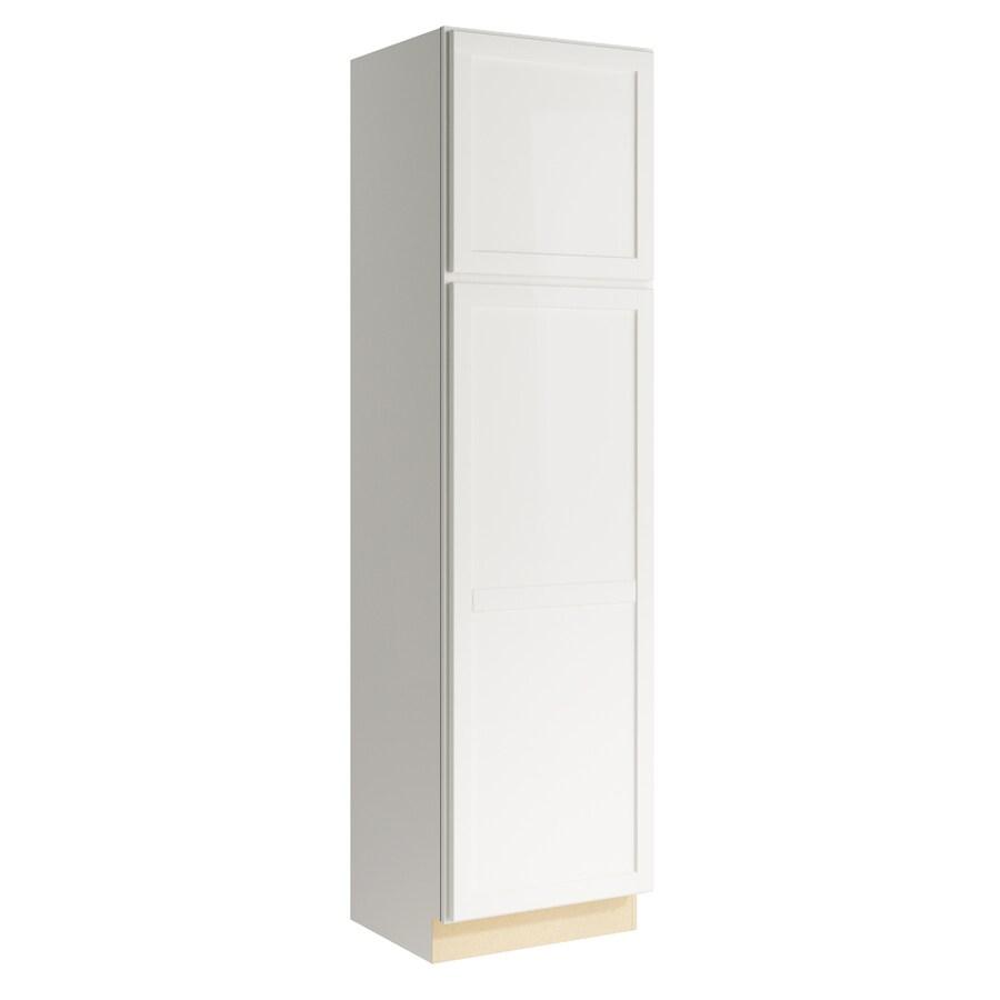 KraftMaid Momentum Cotton Paxton 2-Door Left-Hinged Linen Cabinet (Common 24-in x 21-in x 90-in; Actual 24-in x 21-in x 90-in)