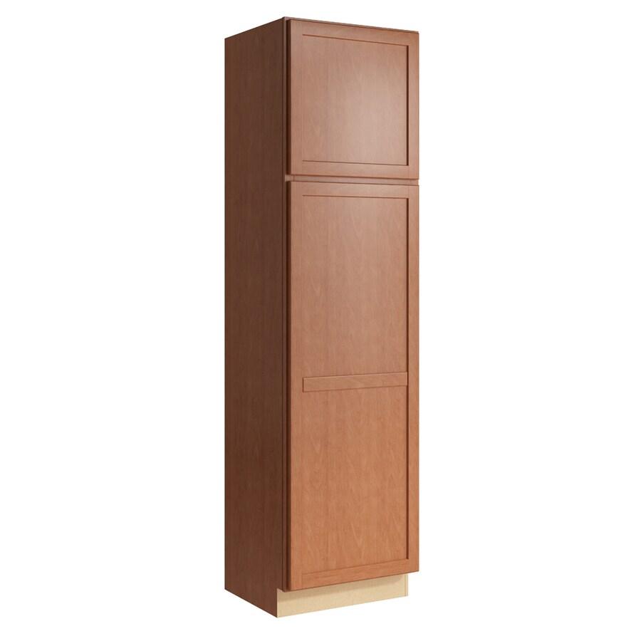 KraftMaid Momentum Hazelnut Paxton 2-Door Left-Hinged Linen Cabinet (Common 24-in x 21-in x 90-in; Actual 24-in x 21-in x 90-in)