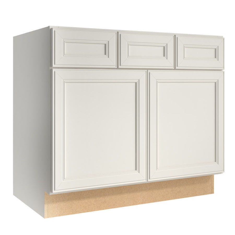 KraftMaid Momentum Cotton (Cabinetry) Bellamy 2-Door 2-Drawer Base Cabinet (Common 36-in x 21-in x 31.5-in; Actual 36-in x 21-in x 31.5-in)