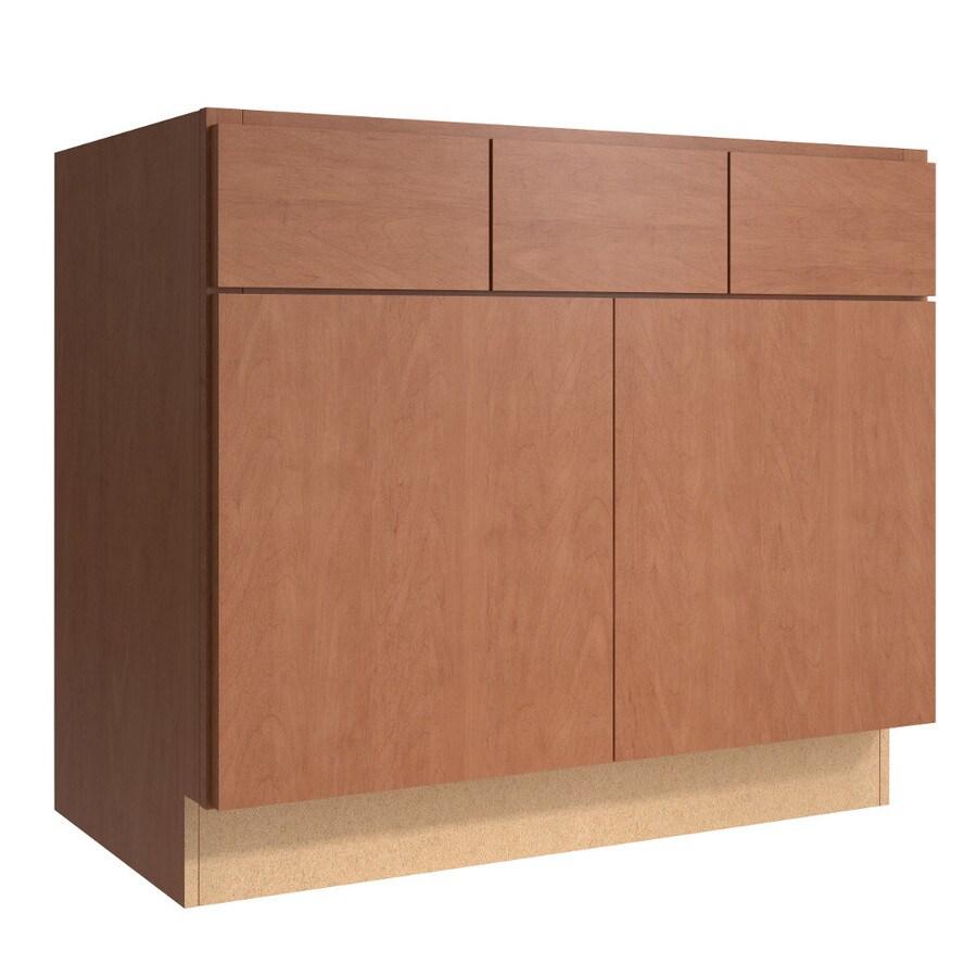 KraftMaid Momentum Hazelnut (Cabinetry) Frontier 2-Door 2-Drawer Base Cabinet (Common 36-in x 21-in x 31.5-in; Actual 36-in x 21-in x 31.5-in)