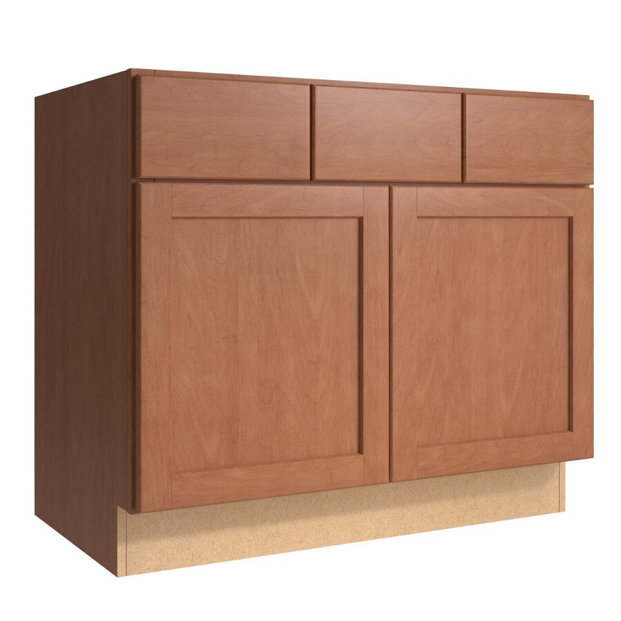 KraftMaid Momentum Hazelnut Paxton 2-Door 2-Drawer Base Cabinet (Common 36-in x 21-in x 31.5-in; Actual 36-in x 21-in x 31.5-in)
