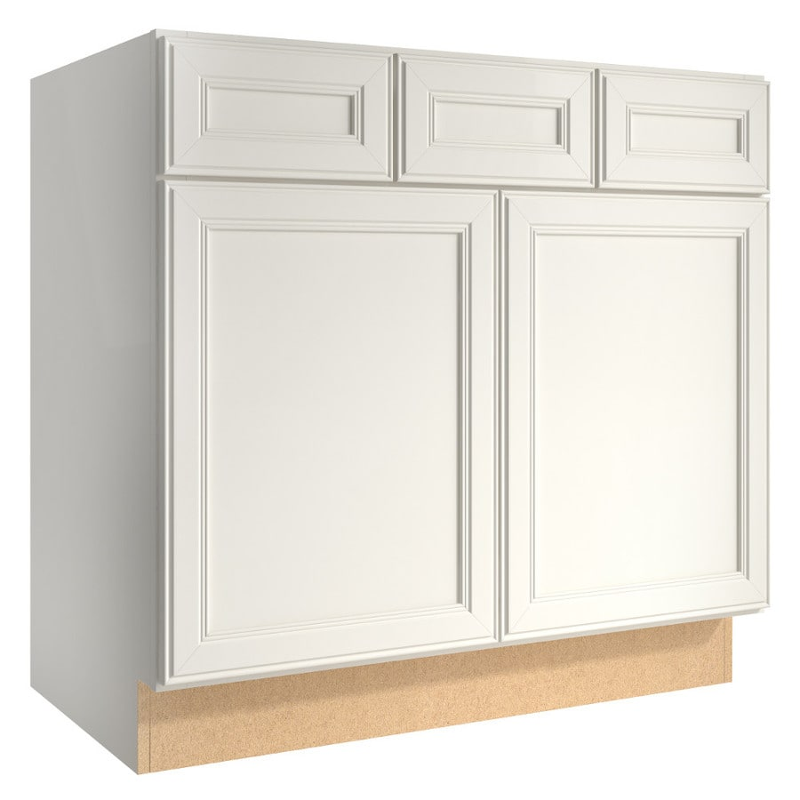 KraftMaid Momentum Cotton (Cabinetry) Bellamy 2-Door 2-Drawer Base Cabinet (Common 36-in x 21-in x 34.5-in; Actual 36-in x 21-in x 34.5-in)