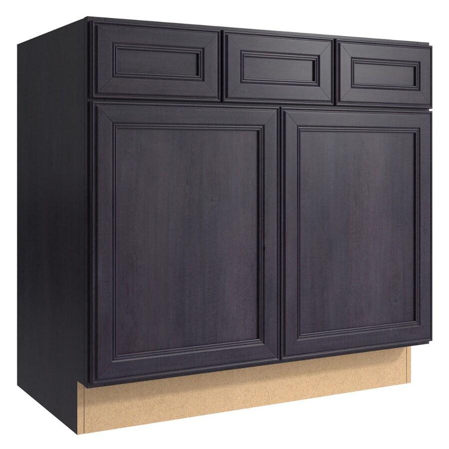 KraftMaid Momentum Dusk (Cabinetry) Bellamy 2-Door 2-Drawer Base Cabinet (Common 36-in x 21-in x 34.5-in; Actual 36-in x 21-in x 34.5-in)