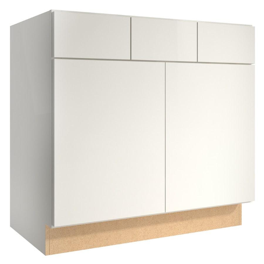 KraftMaid Momentum Cotton (Cabinetry) Frontier 2-Door 2-Drawer Base Cabinet (Common 36-in x 21-in x 34.5-in; Actual 36-in x 21-in x 34.5-in)