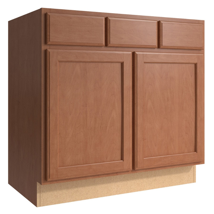 KraftMaid Momentum Hazelnut Kingston 2-Door 2-Drawer Base Cabinet (Common 36-in x 21-in x 34.5-in; Actual 36-in x 21-in x 34.5-in)