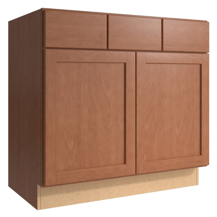 KraftMaid Momentum Hazelnut Paxton 2-Door 2-Drawer Base Cabinet (Common 36-in x 21-in x 34.5-in; Actual 36-in x 21-in x 34.5-in)
