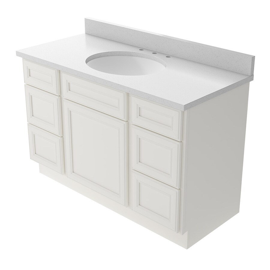 KraftMaid Momentum Bellamy Cotton Undermount Single Sink Bathroom Vanity  With Quartz Top (Common: 48