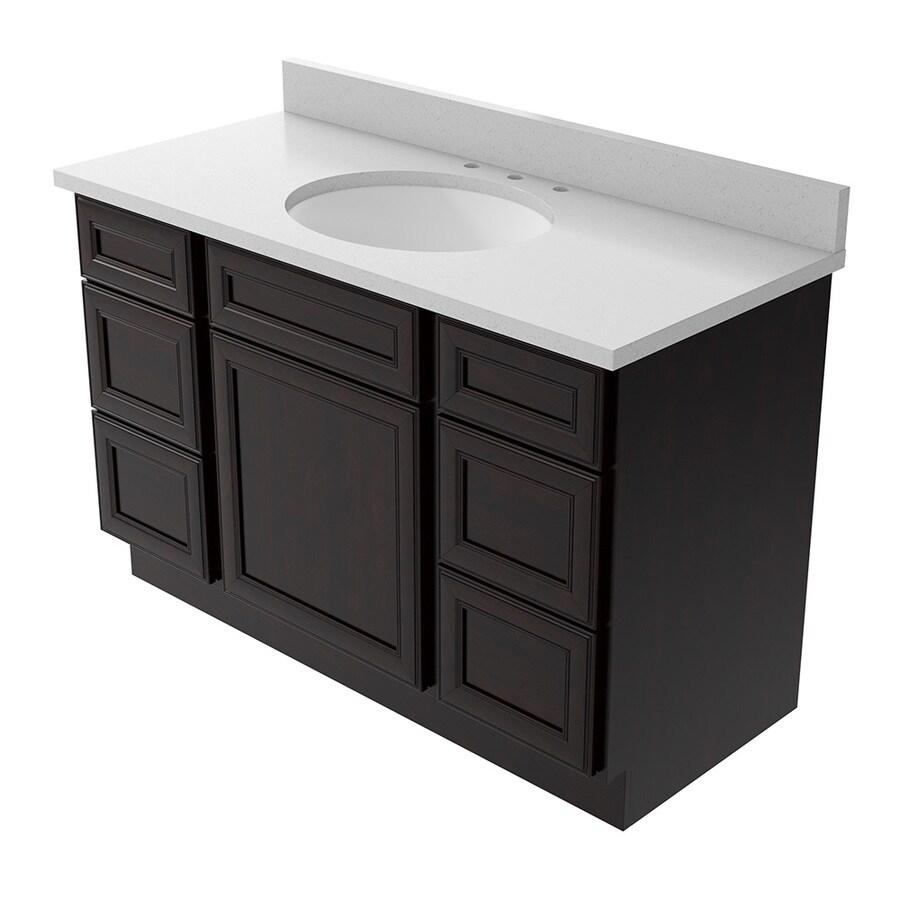 KraftMaid Momentum Bellamy Kona Undermount Single Sink Bathroom Vanity with Quartz Top (Common: 48-in x 22-in; Actual: 49-in x 22.5-in)
