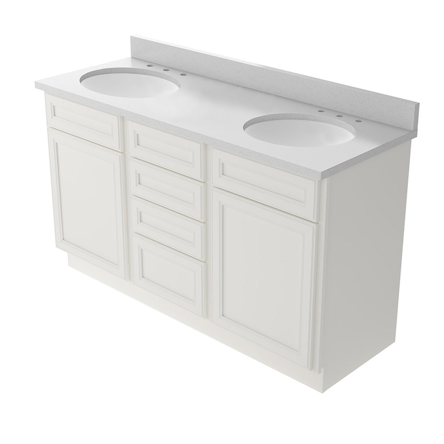 KraftMaid Momentum Bellamy Cotton Undermount Double Sink Bathroom Vanity  With Quartz Top (Common: 60