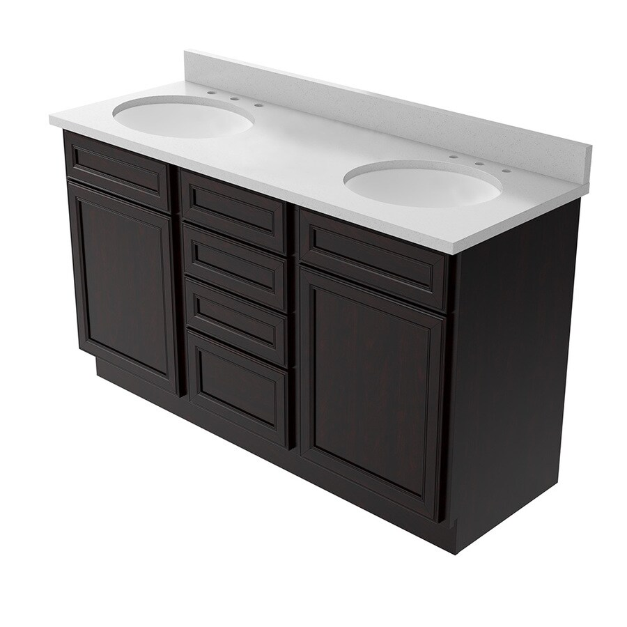 KraftMaid Momentum Bellamy Kona Undermount Double Sink Bathroom Vanity With  Quartz Top (Common: 60