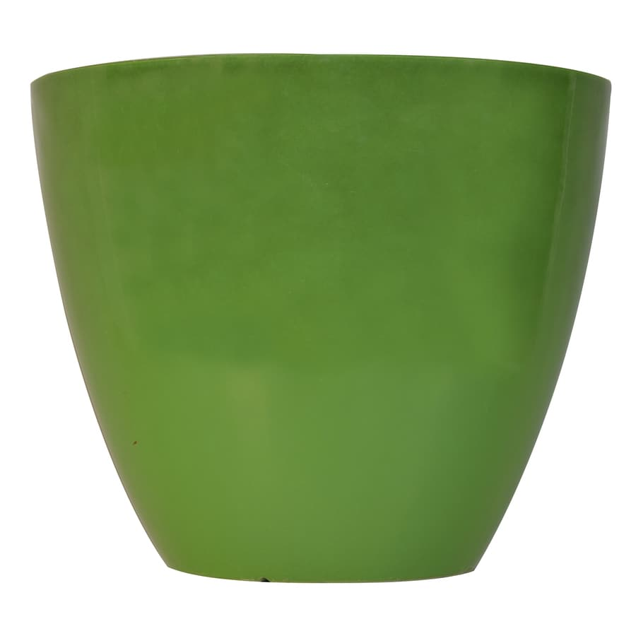 allen + roth 21.38-in x 17.99-in Lime Green Plastic Planter