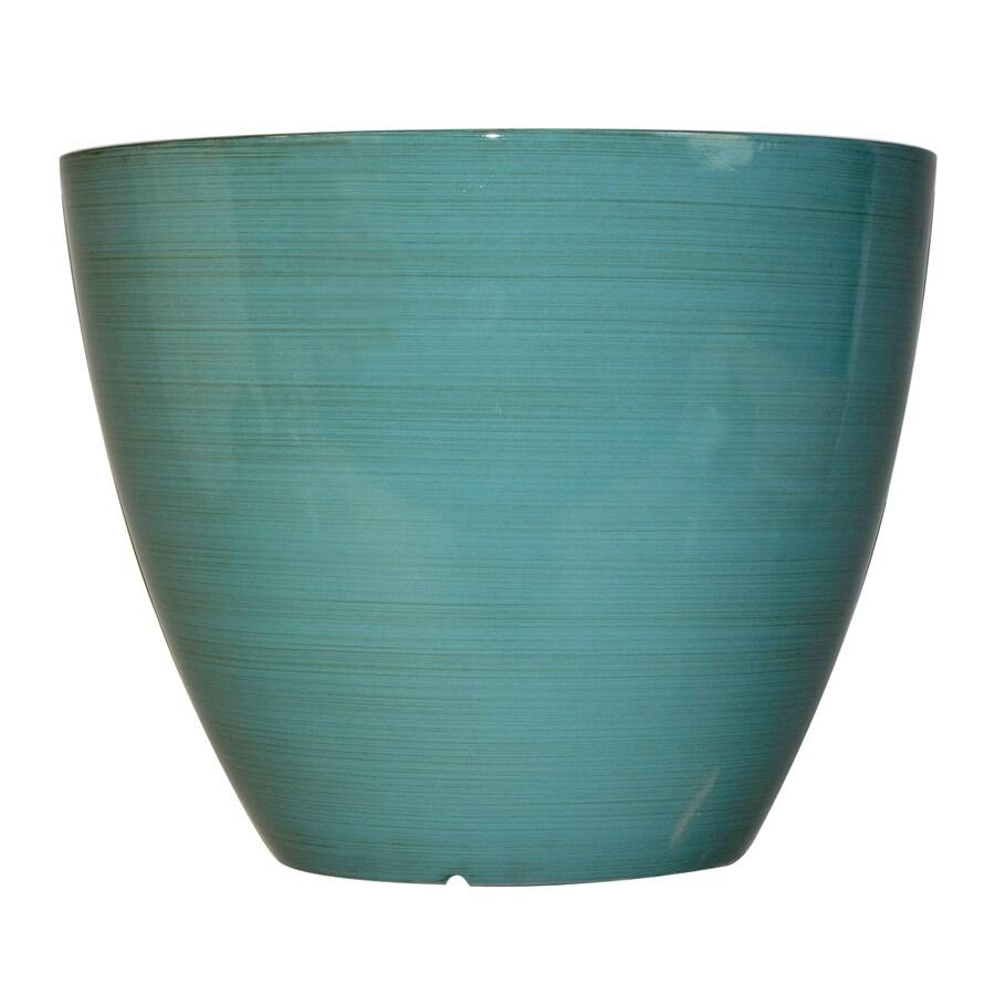 Garden Treasures 14.61-in x 11.42-in Spa Blue Plastic Planter