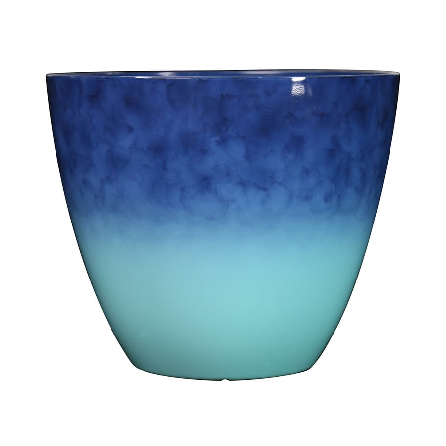 allen + roth 16.46-in x 14.37-in Blue/Lt Blue Resin Planter