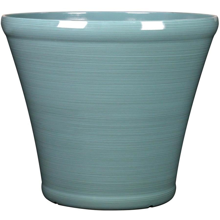 Garden Treasures 17.1-in x 15.16-in Spa Blue Resin Planter