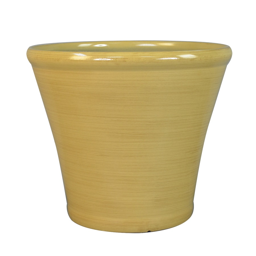 Garden Treasures 17.1-in x 15.16-in Yellow Plastic Planter