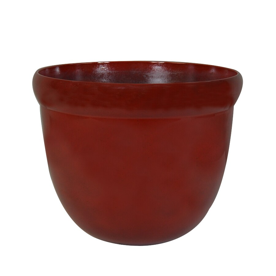 Garden Treasures 12-in x 10.35-in Red Plastic Planter