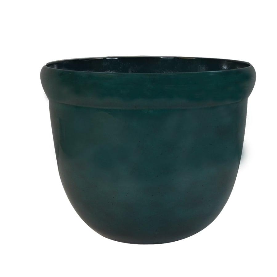 Garden Treasures 16.85-in x 14.33-in Green Plastic Planter