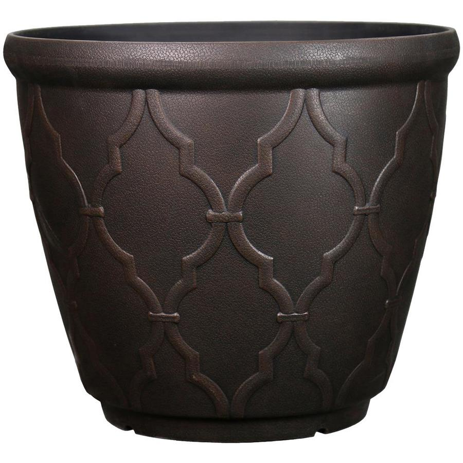Garden Treasures 15-in x 13.7-in Rust Resin Planter
