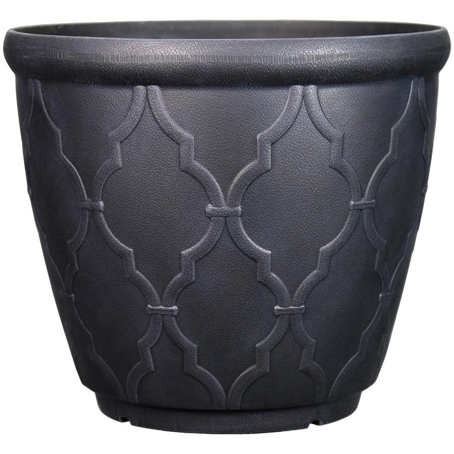 Garden Treasures 15-in x 13.7-in Qfoil Black Plastic Planter