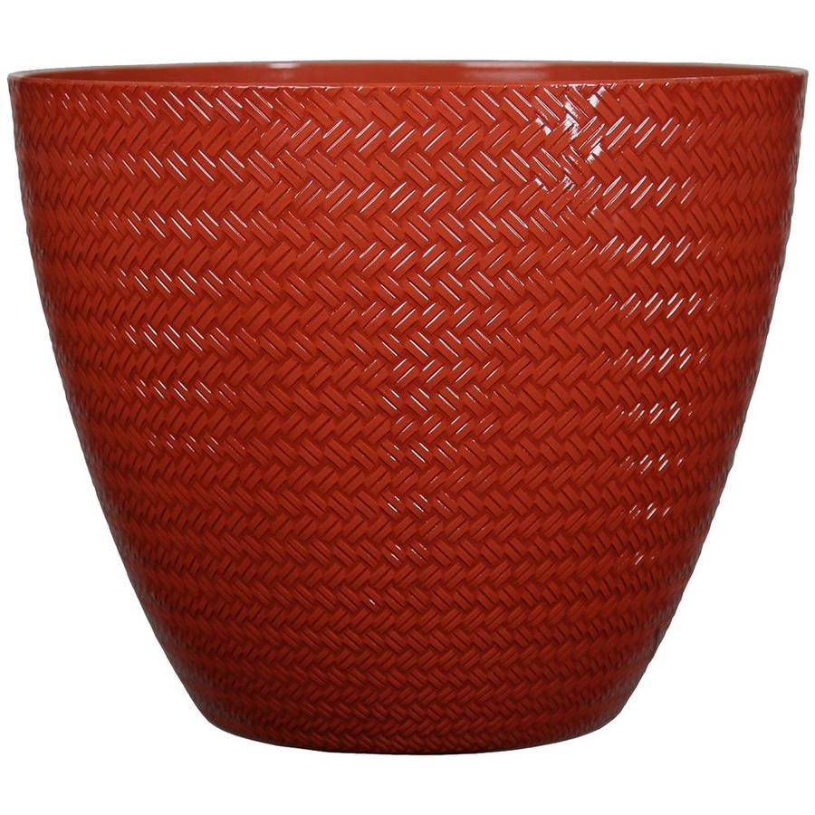 allen + roth 20.2-in x 17.9-in Red Resin Planter