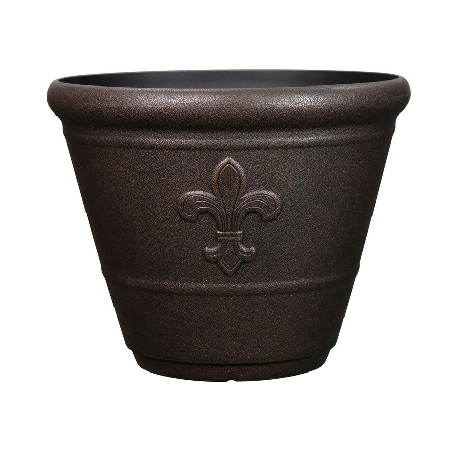 Garden Treasures 14.7-in x 12.6-in Rust Plastic Planter