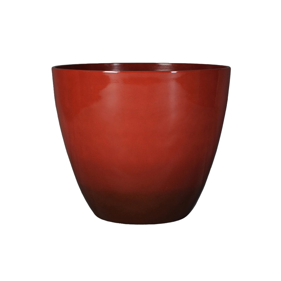 Garden Treasures 16.46-in x 14.37-in Red/Brn Nd Plastic Planter