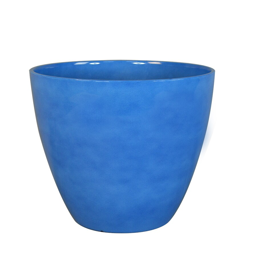 allen + roth 11.18-in x 9.25-in Blue Resin Planter