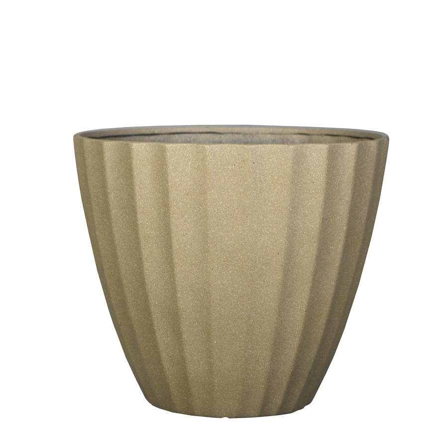 allen + roth 15.08-in x 13.78-in Sand Resin Planter