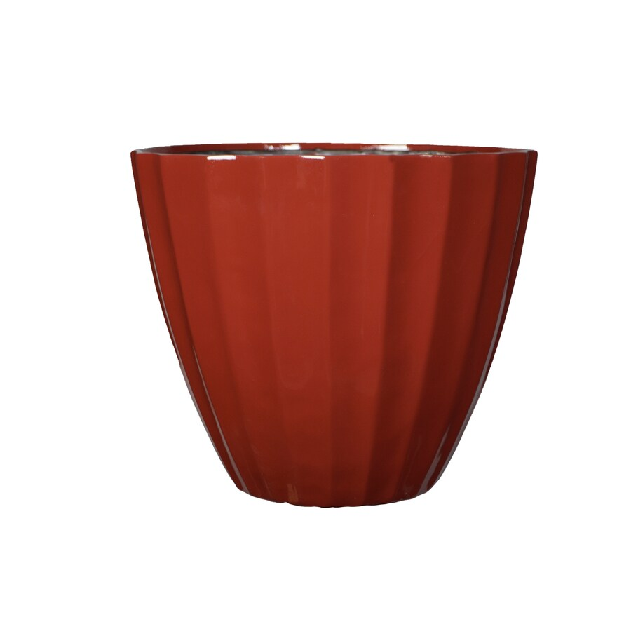 allen + roth 11.38-in x 10.4-in Red Resin Planter