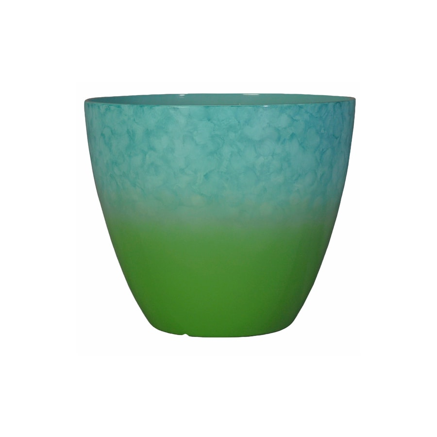 allen + roth 11.18-in x 9.25-in Blue/Green Resin Planter
